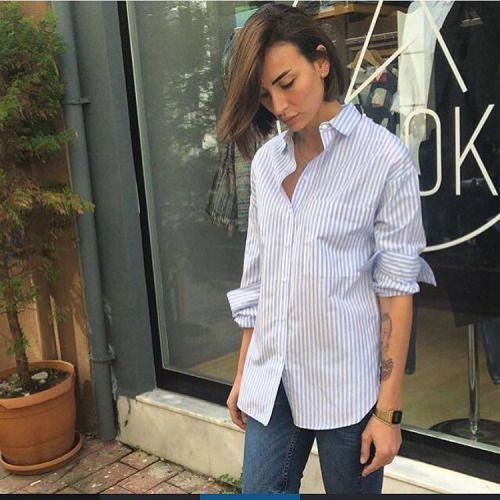 #kuşadasınazbutik #nazşahinler #mavi çizgili gömlek#fiyat...
