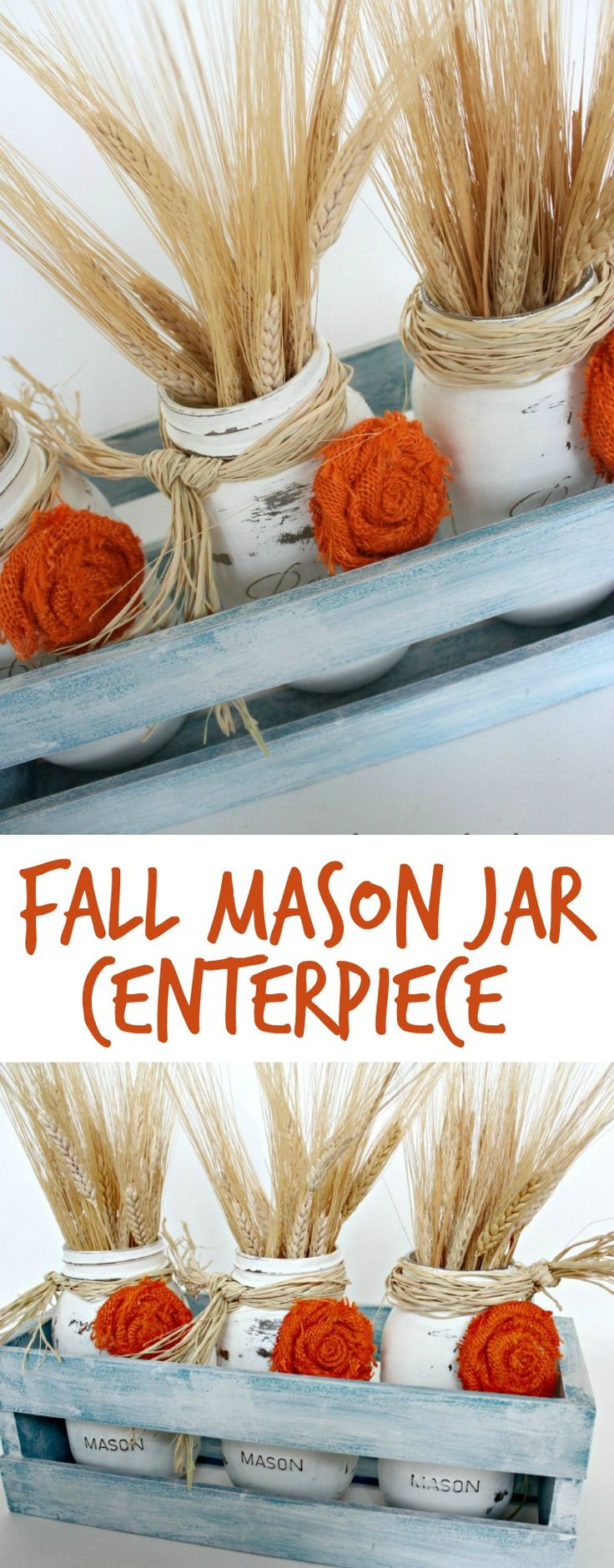 This Easy Fall DIY Centerpiece is a perfect Fall decor accent for the home. OHMY-CREATIVE.COM | Fall Decor | Mason Jar Centerpiece | Fall Mason Jar Craft | Fall Decorating | Painted Mason Jars | How to make a rosette | Wheat Fall decor | How to decorate for Fall | Crate Decor | Fall Mason Jar Decor | Fall Home Decor