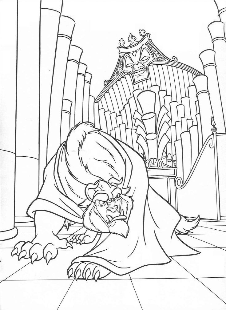 Beauty and the beast enchanted christmas coloring pages in ...