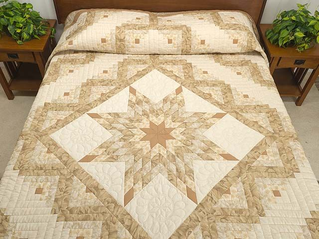 Neutral  Lone Star Quilt. Check out the Pillow Tuck~neat, right?