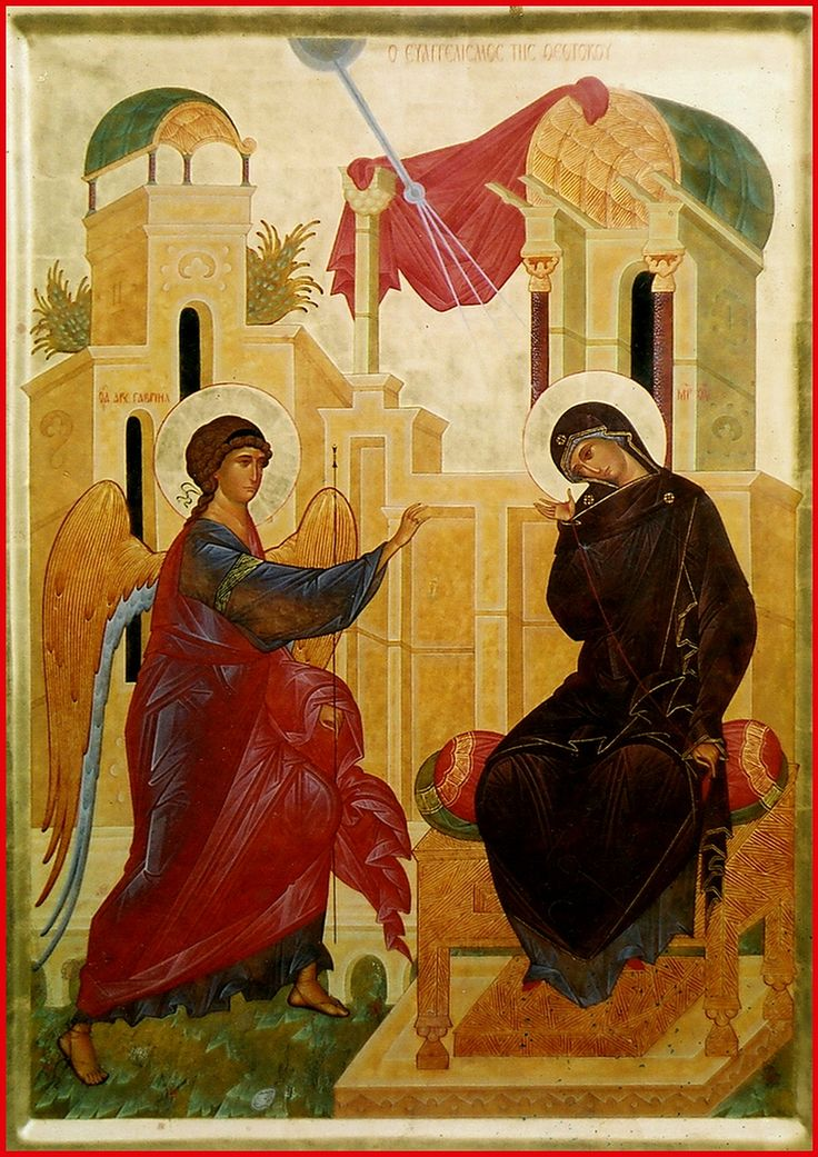 """Annunciation of the Theotokos. 2004. Wood, gesso, tempera, gilding. 25,2""""x 17,3"""". Archangels church of the monastery of st. James, brother of the Lord, in Peristera (Thessaloniki, Greece)."""