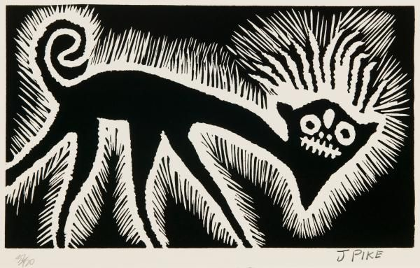 Jimmy Pike (1940 - 2002), Kunyarr: Magic spirit dog, 1985, screenprint on paper, 20.1 x 33.7 cm. (plate) Art Gallery of South Australia, Adelaide.