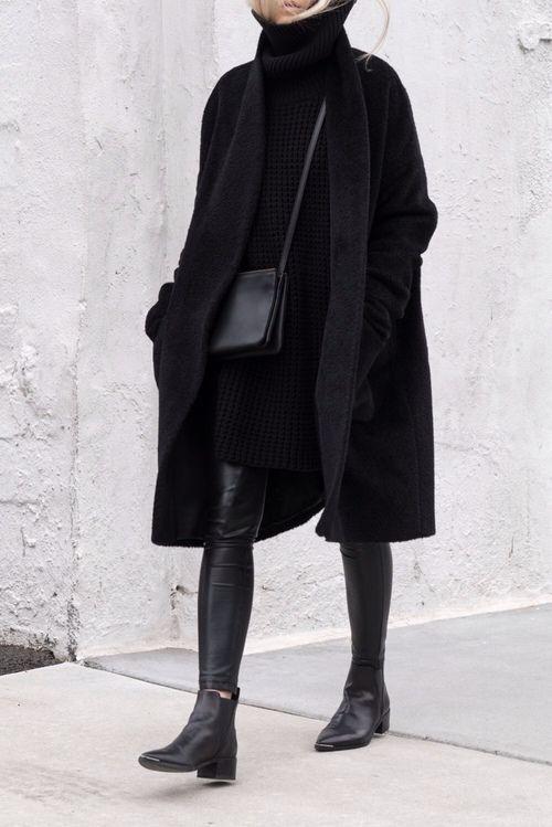 #allschwarze Winter-Outfit #lotd #fashion schwarz für den Winter suchen, schöne