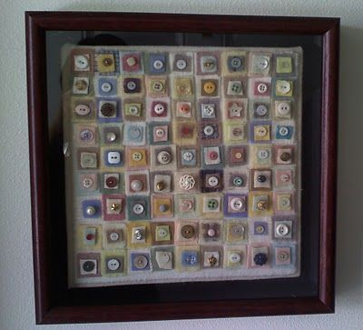 Buttons on felt in a frame. Very neat way to display my old family buttons.