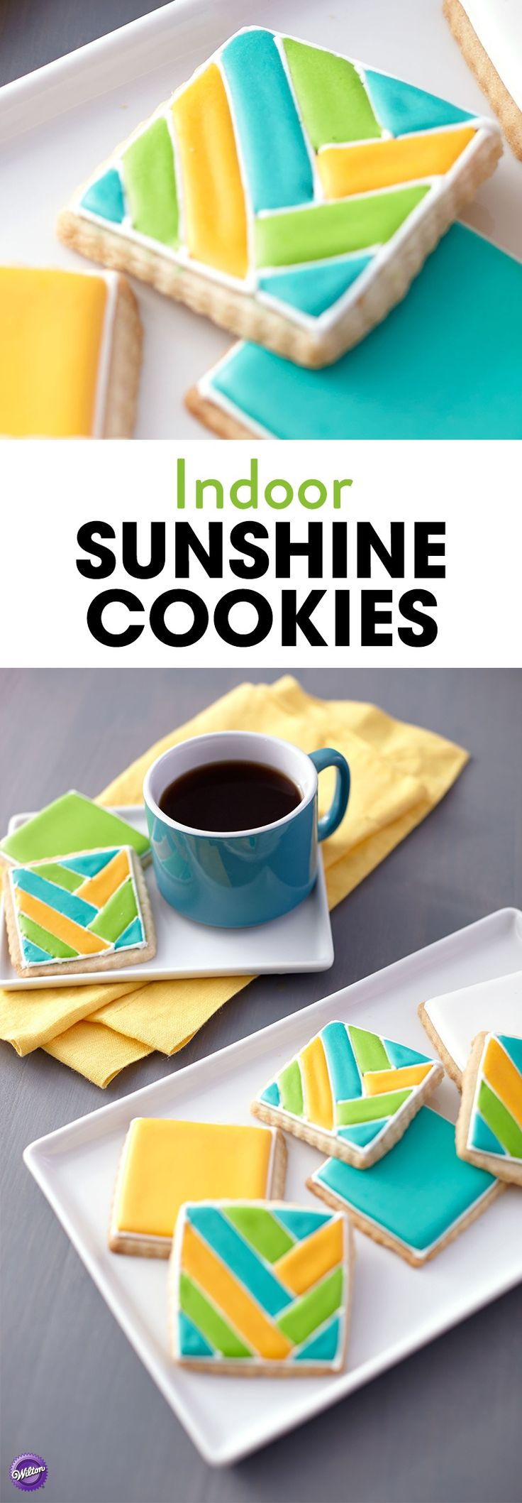 Indoor Sunshine Color Flow Cookies - Let the color and light inside with these bright and shiny Color Flow cookies. Tint all of the sunny shades using the Color Right Performance Color System. These cookies make the perfect sweet treats to serve at your summer gatherings.