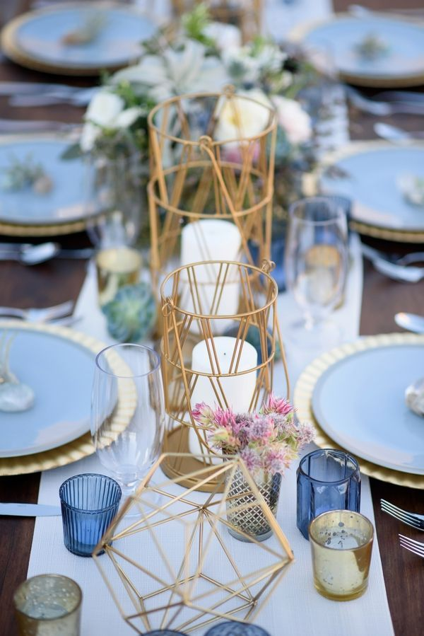 Geometric Details|Modern Southwestern Wedding in Serenity & Rose Quartz|Photographer: The Amburgeys