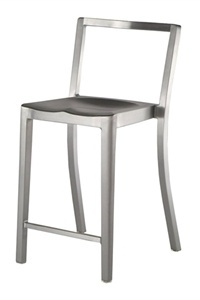 Emeco's Icon Stool by Philippe Starck is made of 80% recycled aluminum.