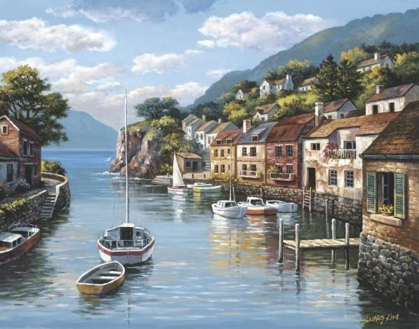 Sung Kim - Village On The Water - Fine Art Print - Global Gallery