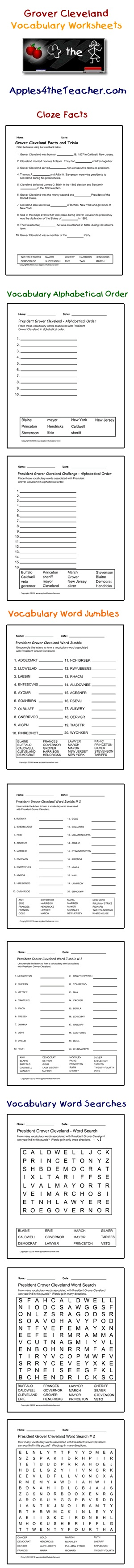 President Grover Cleveland interactive vocabulary words: cloze facts  activity page, alphabetical order worksheets,