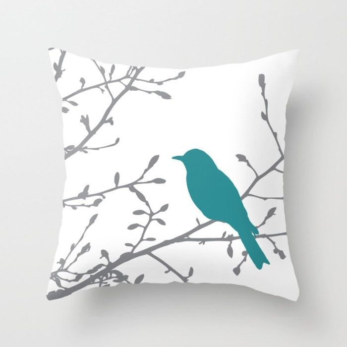 Bird on Branch Pillow Cover - Teal Decor - Teal Pillow Cover - Bird Pillow Cover - Modern Home Decor - By Aldari Home by AldariHome on Etsy