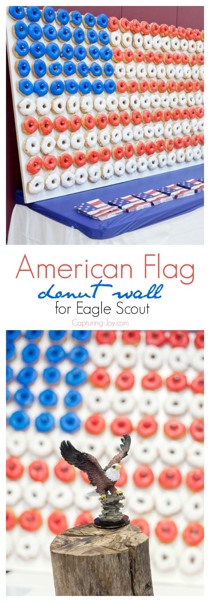American Flag Donut Wall for Eagle Scout Court of Honor. - Capturing-Joy.com