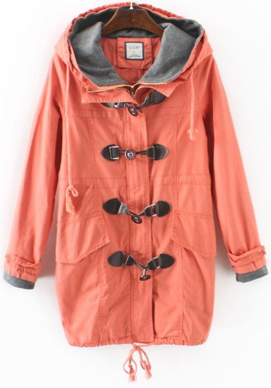 Red Plain Buttons Drawstring Trench Coat
