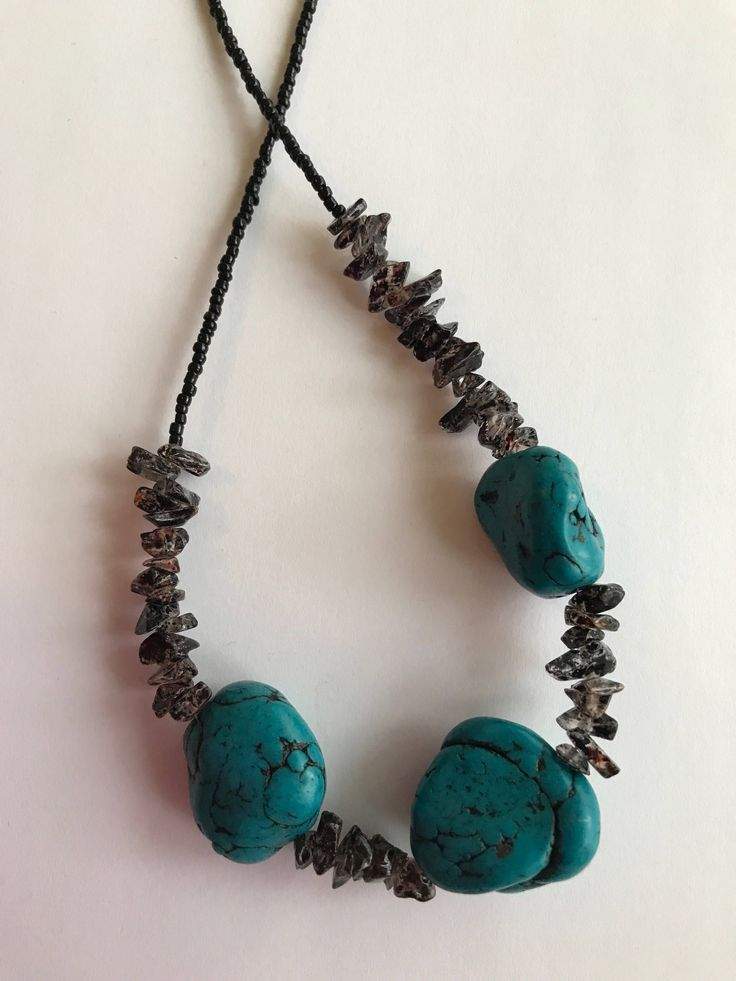 Turquoise & gemstone chip necklace available at CraftyChicHandmade on Etsy