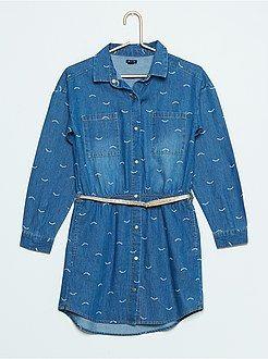 Vestidos, faldas - Vestido camisero de tela vaquera estampada - Kiabi