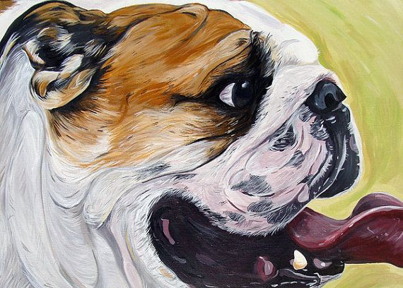 ENGLISH BULLDOG Dog Art Print bright colors yellow by WOOFFactory, $7.00