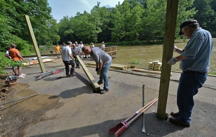 Kittanning, Worthington, Elderton, Rural Valley Lions Clubs build fishing pier shelters.