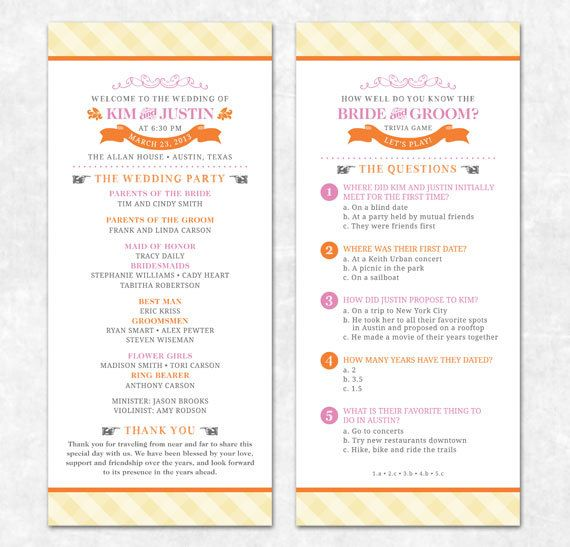 Items Similar To Printable Wedding Program Trivia Modern Summer On Etsy