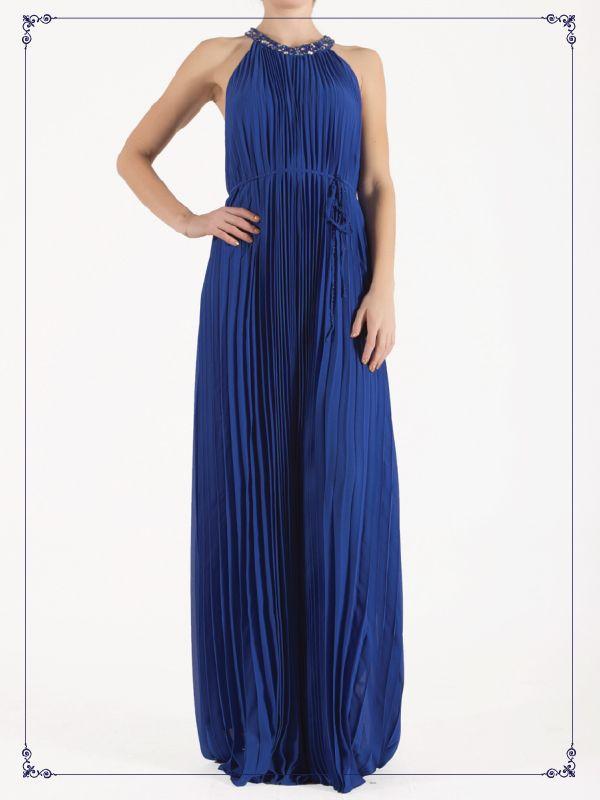 Vestido largo tableado color azul intenso.  $3,849 #vestido #elegante #mujer