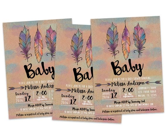 baby shower invitations feather theme | Printable Aztec Baby Shower Invitation - Tribal Baby Shower ...