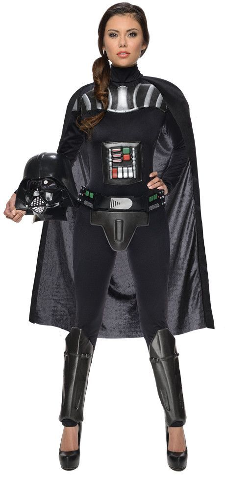 Female Darth Vader Costume - Includes jumpsuit with cape and molded pieces, belt, and half mask.