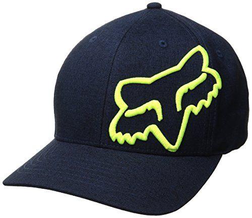 Fox Racing Men's Broder Flexfit Hat  Front 3D Fox head 45 logo embroidery  Men's wear fabric  Back Fox head logo embroidery  Medium profile, natural curve bill