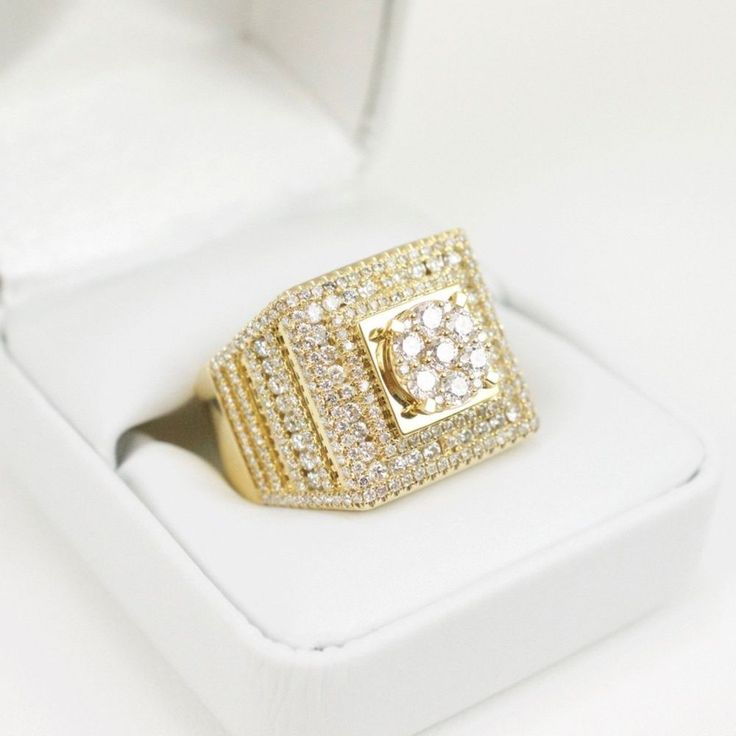 Yellow Gold Finish Men's Pinky Round Lab Diamond Wedding Engagement Ring 3.00 CT #br925silverczjewelry #MensWeddingPinkyRing
