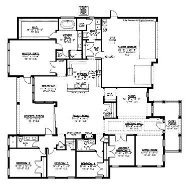 Home Plans HOMEPW15087 - 3,297 Square Feet, 5 Bedroom 3 ...
