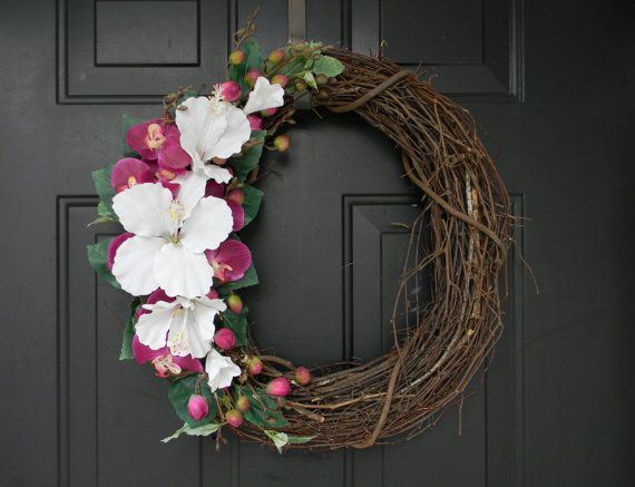 Coastal Wreath Tropical Wreath Hibiscus by AdariaHomeAccents