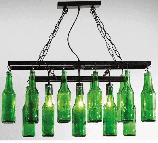 Nietypowe oświetlenie z butelek po piwie