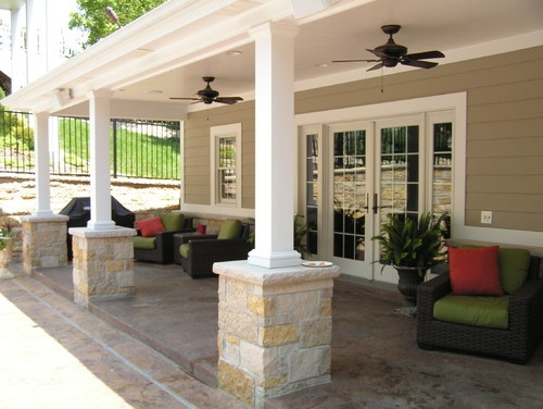 Pool house veranda traditional exterior