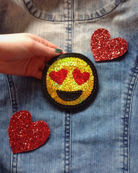 Smiley heart face emoji denim jacket patch by KingSophiesWorld