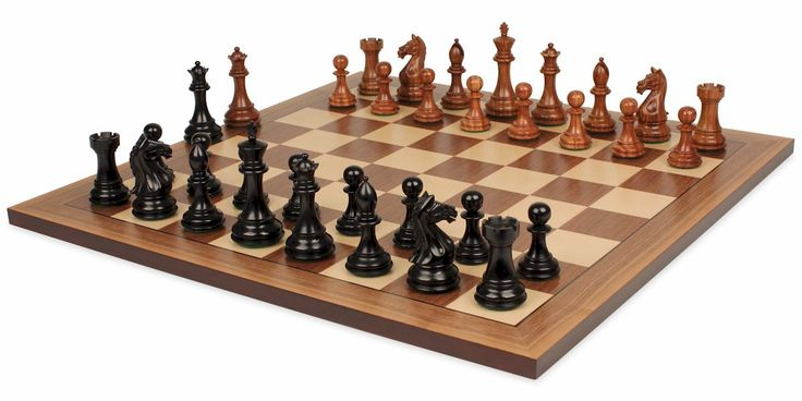 "Fierce Knight Staunton Chess Set in Ebonized Boxwood & Golden Rosewood with Walnut Chess Board - 3"" King - The Chess Store"