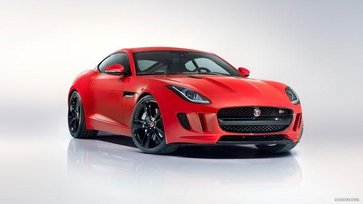 jaguar-type f coupé, voiture, voitures rouges, véhicule, fond gris, vue latérale