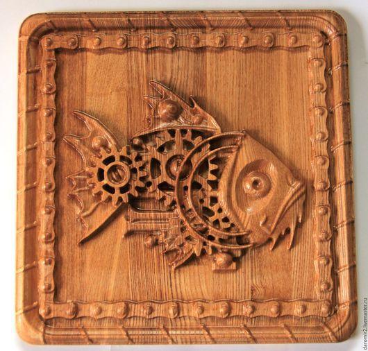 Животные ручной работы. Ярмарка Мастеров - ручная работа. Купить Панно резное Рыба в стиле стимпанк. Handmade. Бежевый