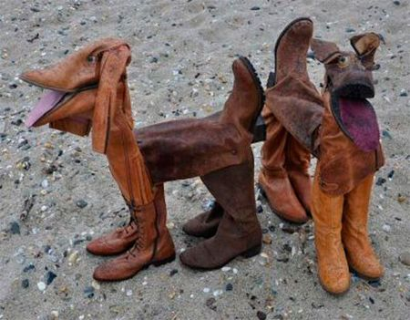 Dogs made from old boots by the artist David Kemp