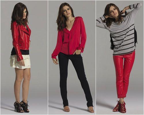 Pois é… Eu nem gosto de jaqueta de couro vermelha… nem de blusas listradas… ou de sandálias trançadas… … nem de calça vermelha, de blazer ou mini vestido de manga comprida… nem… … também não curto calça preta de couro, ou coletinho ou camisa de seda… … aff… camisa de babado, sapato vermelho ou perfecto …