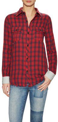 Janis Checked Collared Shirt - Shop for women's Shirt - herringbone Shirt