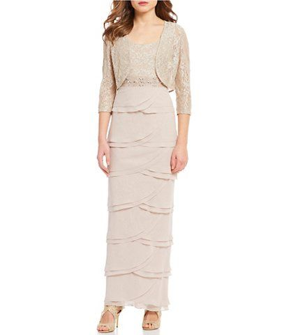 4bc0b51731fa Jessica Howard Petite Size Ruffle Lace Bolero Jacket Dress | Wedding ...