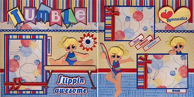 TUMBLING-gymnastics-girl-2-premade-scrapbook-pages-paper-piecing-4-album-CHERRY