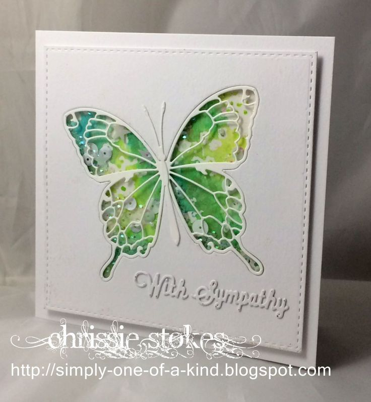 butterfly die: MB, smooshed bg, shaker card, Simply One of a Kind: