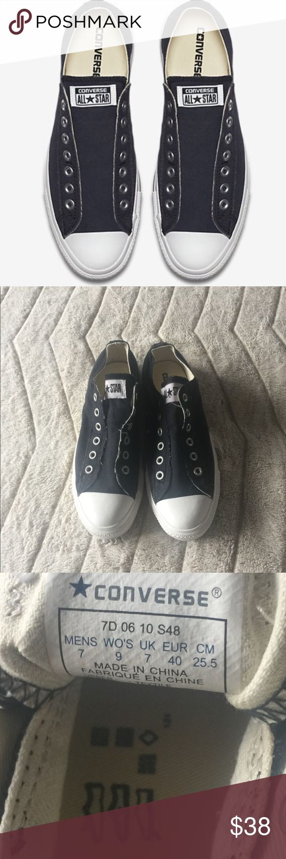 Converse Slip On Navy Low Top Women's size 9. Men's size 7.  Preowned but worn ONCE. Didn't realize these shoes ran large. They are in EXCELLENT BRAND NEW CONDITION! See pics! Elastic tongue slip on and super comfy. Retails $55. *These run half size large. Converse Shoes Sneakers