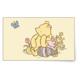 Classic Winnie the Pooh and Piglet 1 Rectangle Stickers
