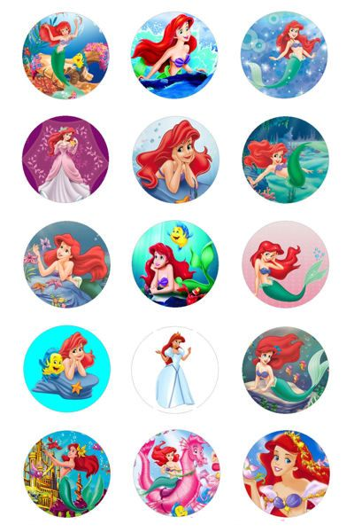 "This auction includes the following:  (1) one 4x6 sheet of LITTLE MERMAID Images.  -these images will not have the water mark on them-  there are 15 images on (1) sheet. printed on high quality fuji film photo paper  these 1"" images are perfect for making key chains, necklaces, magnets, and much more!  free standard usps shipping (us only)  ANY QUESTIONS DONT HESITATE TO ASK.  GOOD LUCK & HAPPY BIDDING"