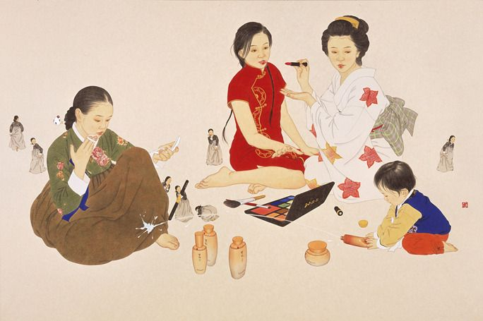 welcome 3 2012 painting on Korean paper by Shin sunmi