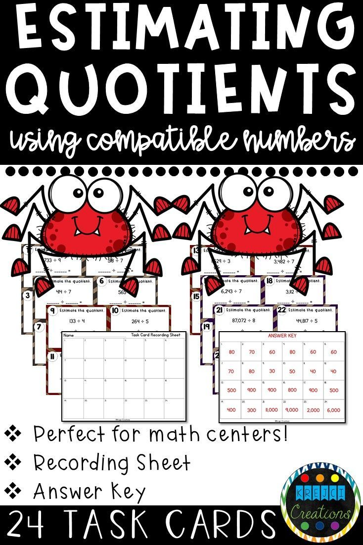 Looking For 4th Grade Math Division Centers These Task Cards Reinforce Estimating Quotients With 1 Digit D Estimating Quotients Task Cards Compatible Numbers