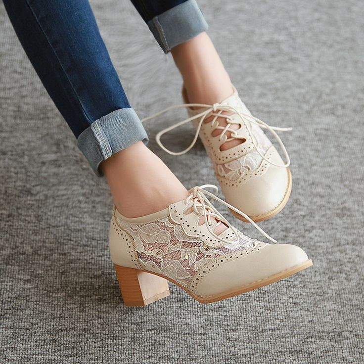 New Womens Lace Up Pointy Toe Chunky Block Mid Heels Mesh Cut Out Oxford Shoes
