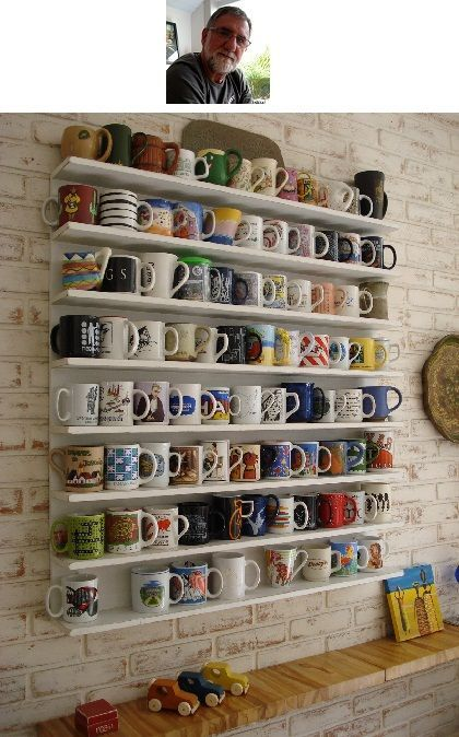 Maybe we'll finally display all those coffee cups rather than get rid of them!? Every cup tells a story, right? Vary the width, number of shelves...and over a coffee bar, include teas, coffees, etc.
