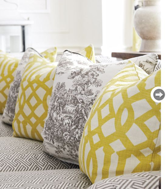 : Grey Rooms, Colors Combos, Geometric Prints, Decor Ideas, Yellow Pillows, Living Rooms Pillows, Mixed Patterns, Colors Combinations, Bedrooms Ideas