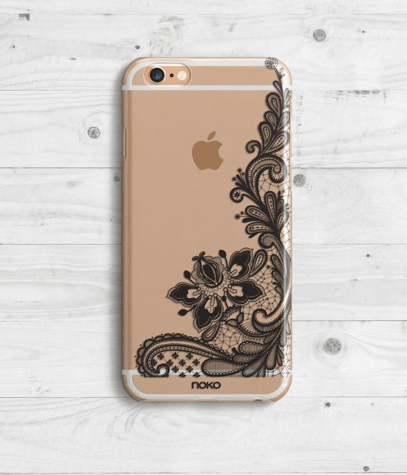DESCRIPTION: NOKO Black Lace Clear Transparent iPhone 6 Case  Designed in Italy - Made in USA  The case is made of transparent polycarbonate plastic