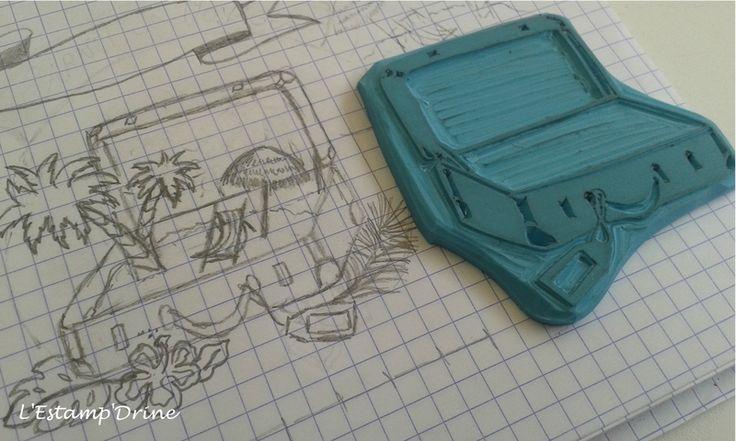7/12 défi gravure juillet: tampon valise pour le voyage par l'estampdrine